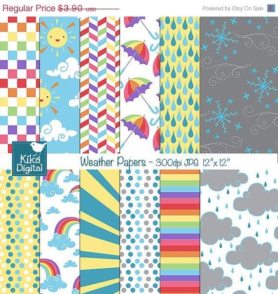 Weather Digital Papers - Rainbow Digital Scrapbooking Papers - card design