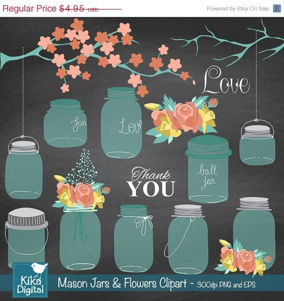 Mason Jars Flowers clipartWedding clipartChalkboard clip makingmason jarb
