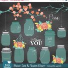 Mason Jars Flowers clipartWedding clipartChalkboard clip makingmason jarb