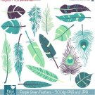 Purple , Grn Feathers Digital Clipart - Scrapbooking , card design, photo booth