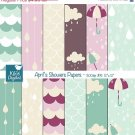 April Showers Seamless Papers-Seamless Pattens-card designscrapbookparty decor