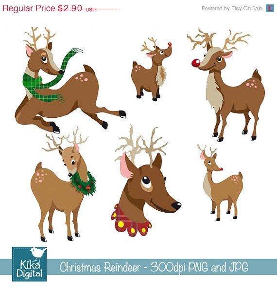 Christmas Reindeer - Digital Clipart /Scrapbooking - card design, stickers