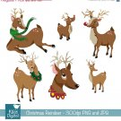 Christmas Reindeer - Digital Clipart /Scrapbooking - card design, stickers