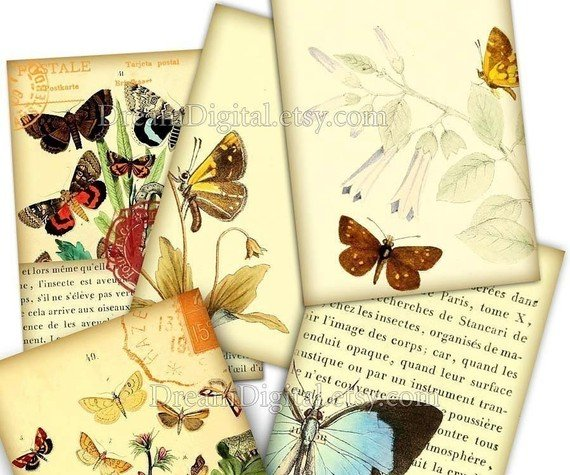 Butterflies Digital Collage Sheet, Gift Tags ACEO Vintage Illustration Printable