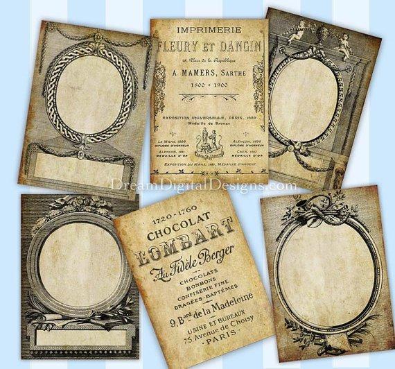 Vintage Paris Tags ATC Labels Digital Frames Printable Gift Tags Collage Sheet