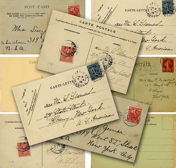 Printable Digital Postcards, Vintage Postcards, Collage Sheet, Ephemera, Digital