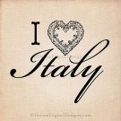 I Love Italy Digital , Typography, Printable Image, Digital Graphics