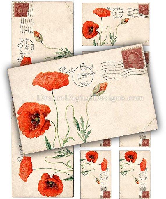 Red Poppies Printable Digital Collage Sheet, Poppy Flowers, Vintage Postcards