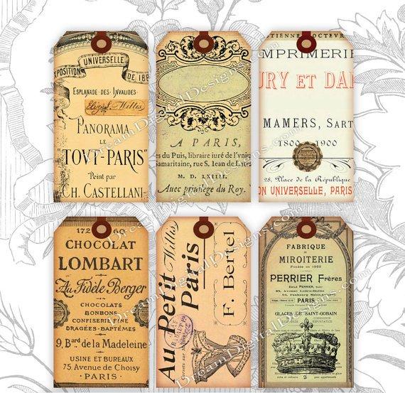 Printable French Ephemera, Paris Gift Tags, Collage Sheet, Digital Gift Tags