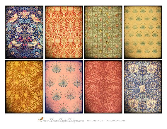 Printable Vintage Wallpaper, Digital Collage, Printable Gift Tags, ATC