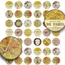 Paris Map 1 inch Circles - Printable Digital Collage Sheet, Vintage Paris Map