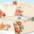 Printable Rose Vintage Postcards, Floral Digital Collage Sheet, Background