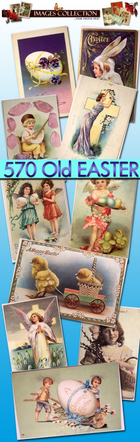printable 570 Old Postcards of Easter Valentine eggs easter