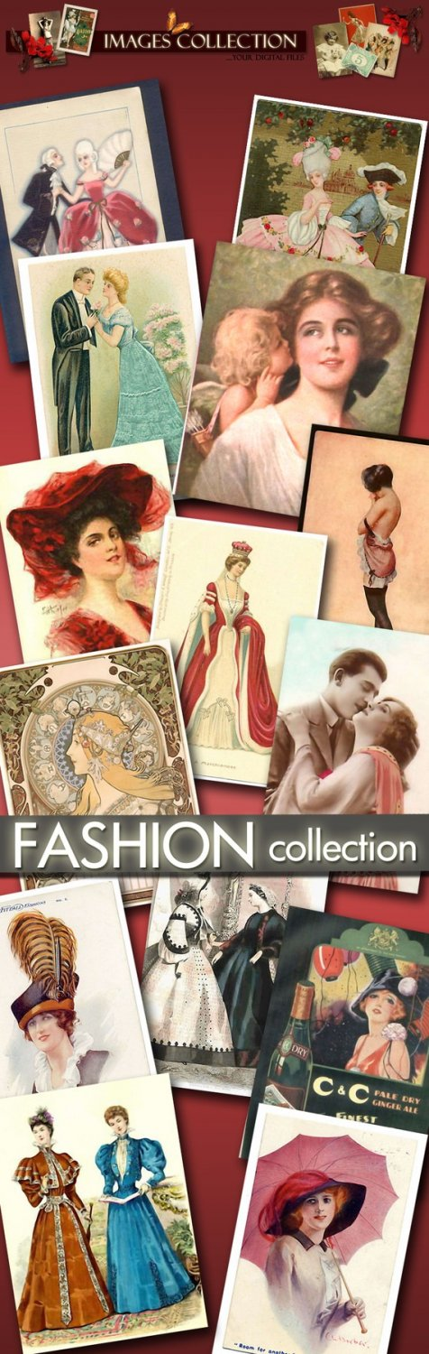 digital images Fashion Collection 723 images cards labels lady vintage print