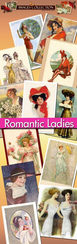digital images Romantic Ladies 720 jpeg files cards labels lady vintage print