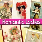 digital images Romantic Ladies 720 jpeg files cards labels lady vintage print