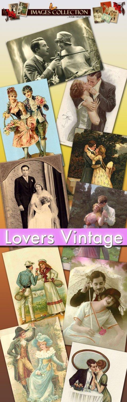 Digital collection Lovers vintage print