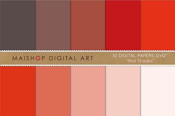 Solid Color Digital Paper-Red Shades-Plain print Sheets for Digital Scrapbooking