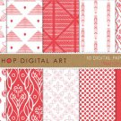 Digital Paper-Red Orchid-Wh Red Geometric Floral print Digital Sheets for CraftsCard Design