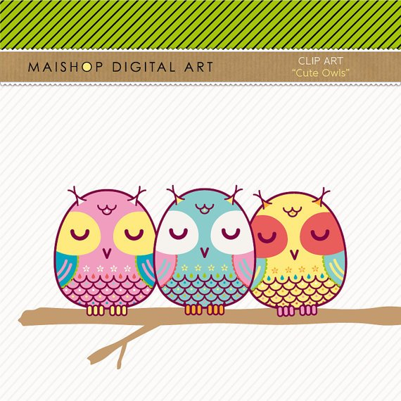Clip Art Owls - Digital Collage Sheet Owls