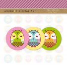 1' Digital Collage Sheet Circles Owls- Cute Owls