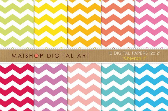 Digital Paper - Chevron II - Grn,YW,Org,Red,Pink,Purp,Blu Papers for Scrapbook
