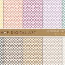 Digital Paper-Fish Scales-YW,OrgPurpLilacGrnBlk ,Brw Scop PatternPrinting