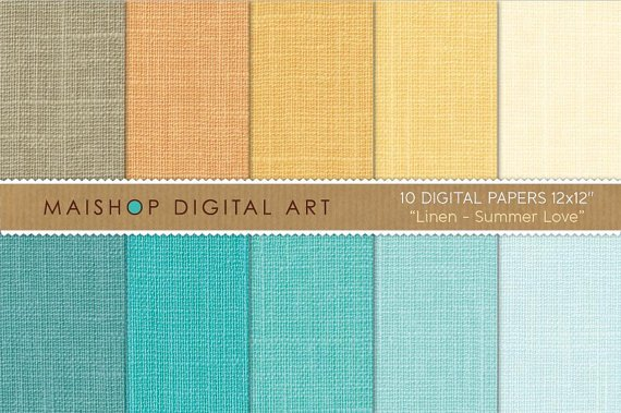 Digital Paper Linen-Summer Love-YellowOrgTurquoiseBlueCelestePlain Color Digital Sheets