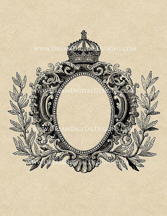 Printable Graphic Antique Frame with Crown Vintage Digital Clip Art
