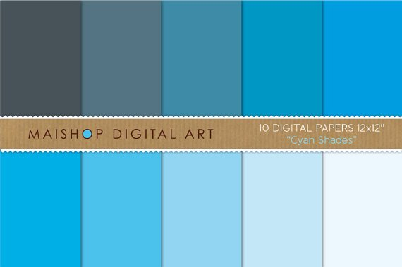 Solid Color Digital Paper - Cyan Shades