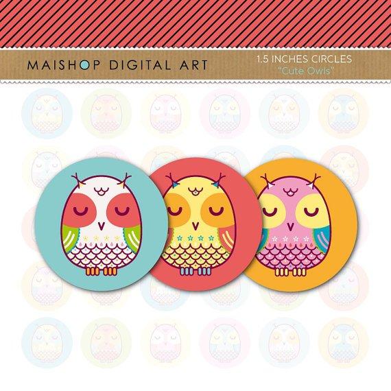 1.5' Digital Collage Sheet Circles Owls - Cute Owls