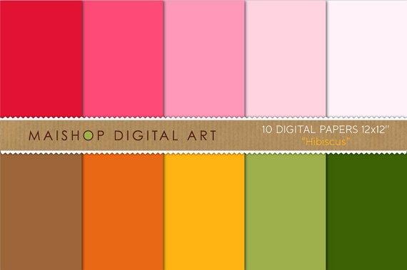 Solid Color Digital Paper - Hibiscus