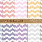 Digital Paper-Chevron Pastels-Soft Pink,OrgGrnBluPurpGray Colors Chevron Pattern
