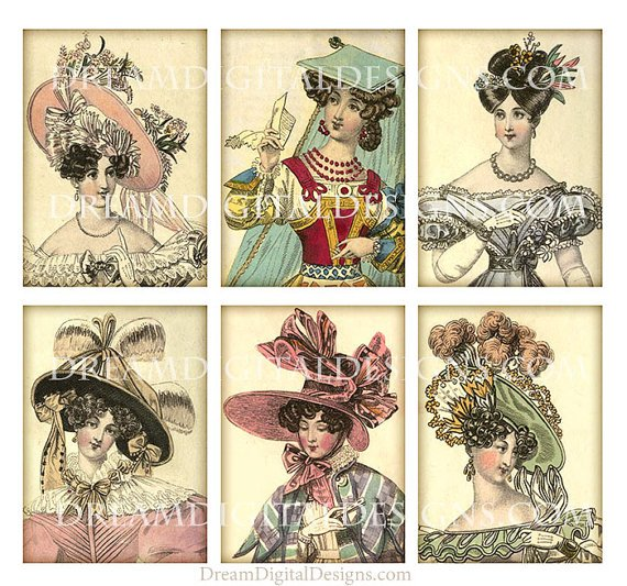 Ladies Fashion Hats, Digital , Tags, Fashion Collage Sheet, Printable Gift Tags