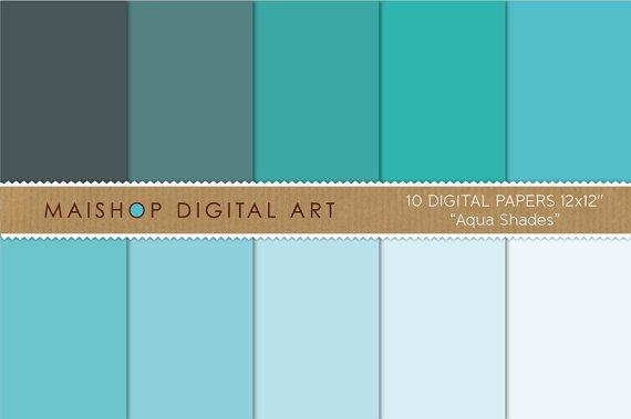 Solid Color Digital Paper-Aqua Shades-Plain BlueTurquoiseCeleste Sheets for Paper CraftsDIY Crafts
