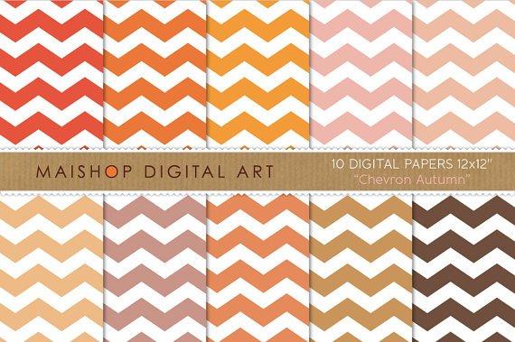 Chevron Digital Paper - Chevron Autumn - Org,Pink,Brw Digital Sheets,Envelopes