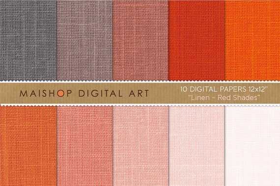 Digital Paper Linen-Red Shades-Pink Pale,Red,Rusty Red,Redwood,Warm Gray,Textured Papers for Crafts