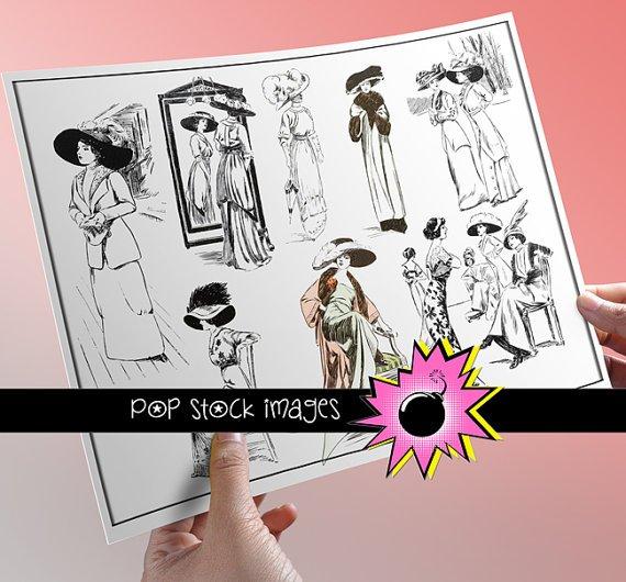 Fashion Illustrations PNG Image Collection - vintage print