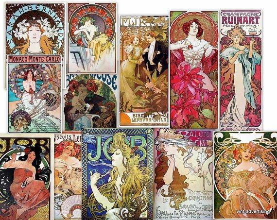 DVD ALPHONSE MUCHA Art Nouveau Art Deco High Res Poster Art Image Collection