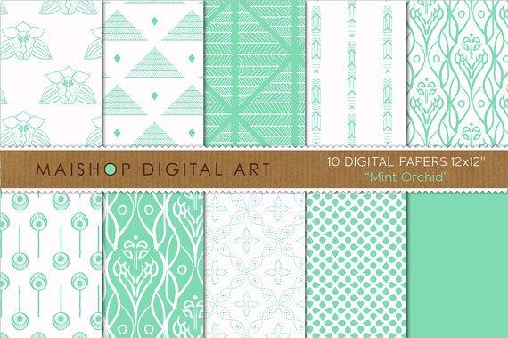 Digital Paper-Mint Orchid-Grn Mint Wh CardsPaper BagsEnvelopesScrapbook