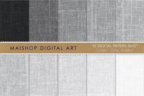 Digital Paper Linen - Gray Shades