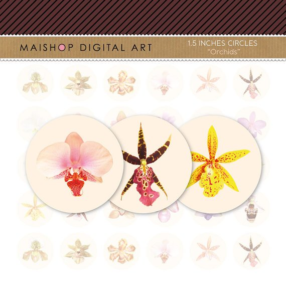 1.5' Digital Collage Sheet Circles - Orchids Flowers