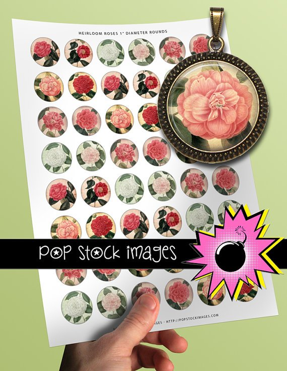 1 Inch Rounds HEIRLOOM ROSES Collage Sheet-print for PendantsMagnets