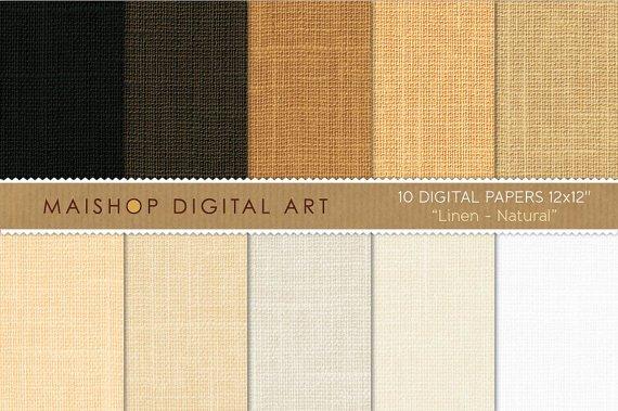 Digital Paper Linen-Natural-WhBeige,Brw Digital Img. for Online ScrapbookingPhoto Books