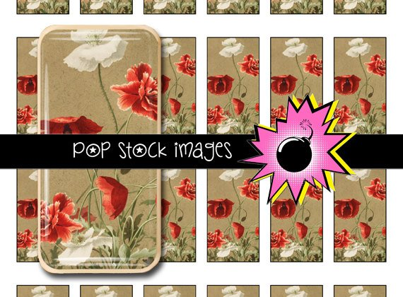 Poppies Digital Domino Collage Sheet-print Tiles for Domino Pendants