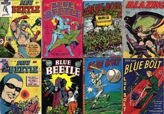 Novelty Comics BLUE BOLT Fox Feature Blue Beetle Comics DVD Joe Simon Captain Flash