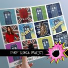 Doctor Who Inspired 2.5-Inch Tag Collage Sheet-TARDIS-Dalek-Clara-Amy Pond-print Doctor Who Tags
