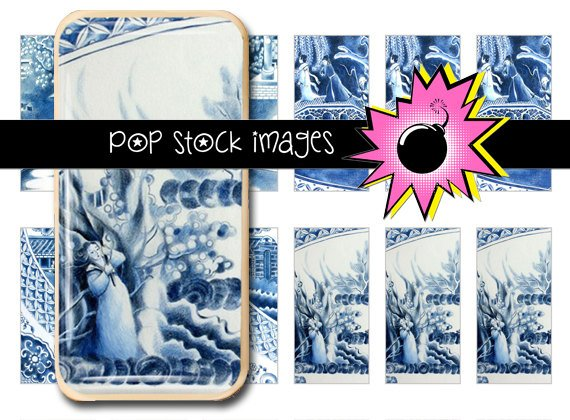 Blue Willow Digital Domino Collage Sheet-print Blue Willow China Tiles for Domino Pendants