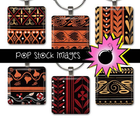 1 Inch Squares GREEK DESIGNS Collage Sheet-print for PendantsMagnets & Wine Charms-GREEK
