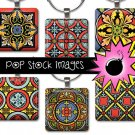 1 Inch Squares RED BLUE REGAL Collage Sheet-print for PendantsMagnets & Wine Charms-Ornate